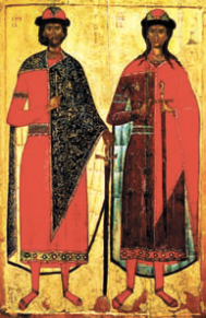 Древнерусская икона свв. бориса и Глеба