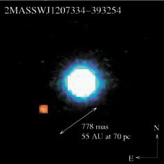 Планета возле коричневого карлика 2MASSWJ1207334-393254. Фото: G. Chauvin et al.