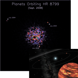 Планеты у звезды HR 8799. Фанта- зия художника. Изображение: Gemini Observatory Artwork by Lynette Cook
