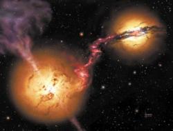 Система галактик 4C 60.07. Фантазия художника (David A. Hardy/UK ATC)