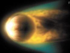 Взаимодействие солнечного ветра и межпланетного поля с ионосферой Венеры приводит к формированию индуцированной магнитосферы (© ESA)