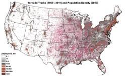 Карта плотности населения США в 2010 году