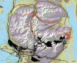 Схема вариантов дорог от месторождения к ГОКу