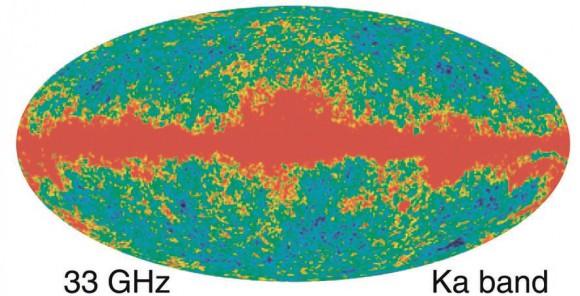 Карта температуры по данным девяти лет наблюдений на спутнике WMAP