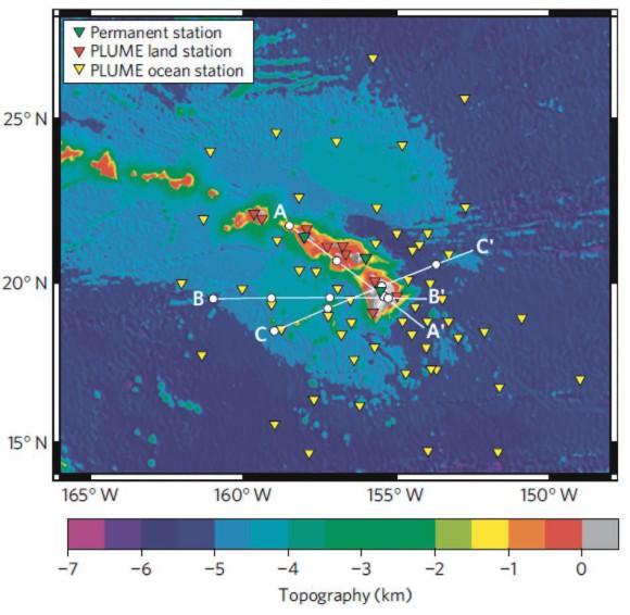 Расположение сейсмостанций Гавайского «плюмового» эксперимента [1]. Размещение датчиков на океаническом дне позволяет просветить мантию в объеме конуса до глубины несколько сотен километров