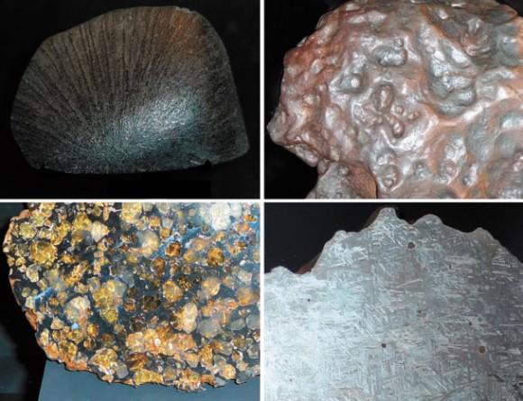Рис. 1. Коллекция метеоритов Смитсонианского музея натуральной истории (Вашингтон). Слева вверху: каменный марсианский метеорит со следами плавления в атмосфере. Слева внизу: палласит, железокаменный метеорит. Справа вверху: металлический метеорит, покрытый характерными вмятинами из-за частичного расплавления. Справа внизу: видманштеттеновы фигуры на срезе металлического метеорита. Фото автора