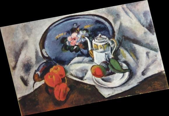 Александр Куприн. Натюрморт с синим подносом (1914)