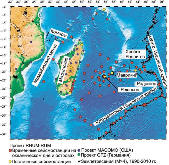 Существующие и планируемые станции по проекту RHUM-RUM (с сайта проекта www.rhum-rum.net)