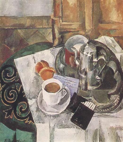 В. Рождественский. Натюрморт с кофейником и чашкой (1913)