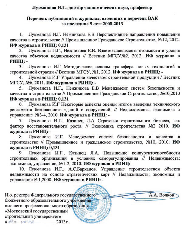 Публикационная пассивность членов экспертного совета ВАК  Перечень публикаций Лукмановой И Г