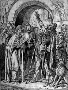 Номиноэ (правитель Бретани в 831–851) клянется отомстить Франкам за убийство бретонского посла. Иллюстрация к английскому переводу «Бретонских песен»