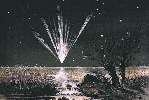 Большая комета 1861 года была настолько яркой,  что предметы, освещенные ею в ночи, отбрасывали  тени. Хвост кометы тянулся на полнеба.  Изображение: «Википедия»