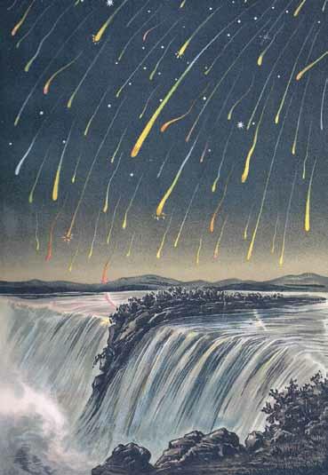 Метеорный дождь Леониды над Ниагарским водопадом в 1833 году,  в разгар которого можно было наблюдать несколько метеоров  в секунду. Прародителем потока стала комета 55P/Темпеля — Таттла.  Изображение: «Википедия»