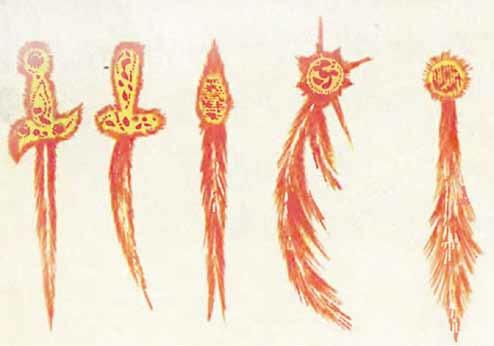 Средневековые изображения комет.  Два левых рисунка — наглядный  пример страхов и дурных предзнаменований,  связываемых с хвостатыми странницами в те  времена. Изображение: http://epizodsspace.no-ip.org/bibl/tm/1978/9/komety.html