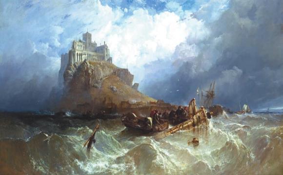 Гора святого Михаила, Корнуолл. Кларксон Фредерик Стэнфилд. 1830