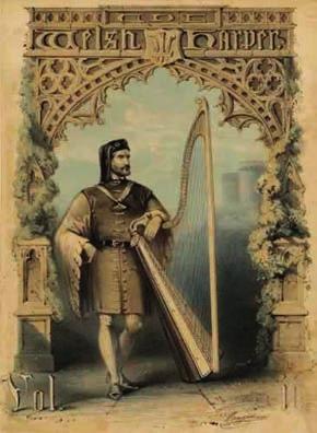 Да́вид ап Гви́лим (Dafydd ap Gwilym) — валлийский поэт XIV века, прозван «валлийским Петраркой». Обложка первого номера журнала «Валлийская лира» (1848)
