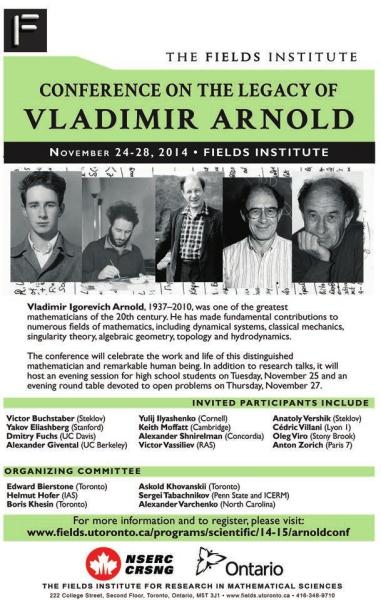 Постер к конференции памяти В.И. Арнольда с сайта www.fields.utoronto.ca