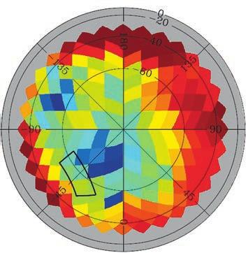 Карта вклада галактической пыли по данным Planck. Выделена часть сектора (слева внизу),  соответствующая области, исследованной BICEP2 (из статьи 1409.5738). Красный цвет соответствует большому вкладу, синий — малому.  Видно, что область BICEP2 соответствует зеленому цвету, где вклад пыли не слишком мал