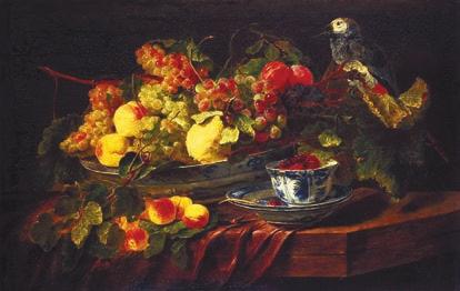 Цветы и фрукты («Натюрморт с попугаем»)