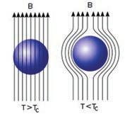 Рис. 1.  Магнитное поле огибает маленький образец в момент включения сверхпроводимости