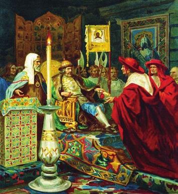 Генрих Семирадский. Князь Александр Невский принимает папских легатов (1876). «Википедия»