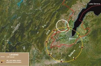 Схема расположения будущего 100-километрового коллайдера в CERN  на границе Швейцарии и Франции (Фото: CERN)