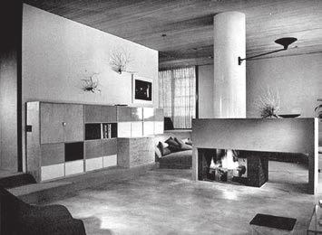 Общий вид и один из интерьеров дома № 9, построенного архитектором Чарлзом Имсом (Charles Eames) и Эро Саариненом (Eero Saarinen) для Джона Энтенса