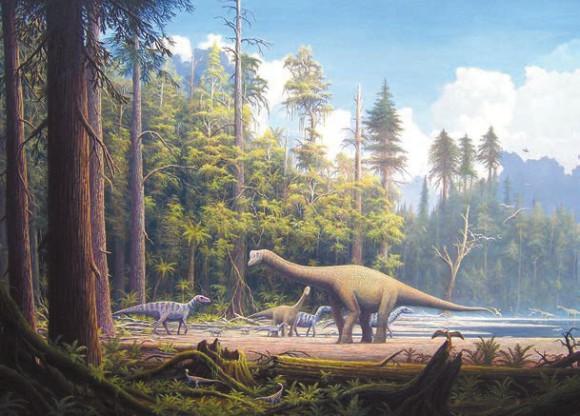 Юрский период (201–145 млн лет назад). Север современной Германии. Малыш и взрослый Europasaurus holgeri, два Compsognathus и Archaeopteryx. Автор рисунка — Gerhard Boeggemann