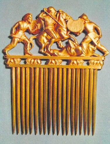 Скифский золотой гребень (из кургана Солоха близ Никополя), изготовленный греческими мастерами. Начало IV века до н. э. (Эрмитаж)