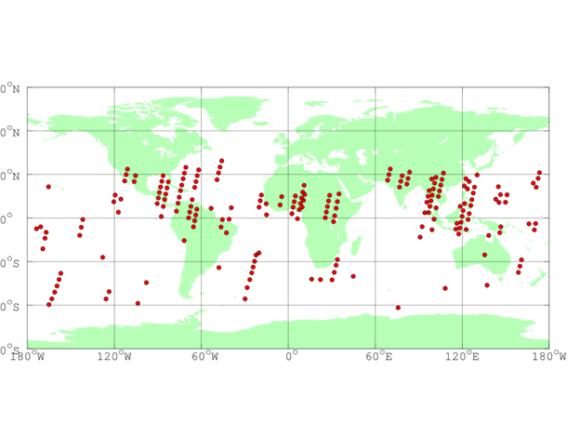Рис. 2. Карта событий транзиентного УФ-свечения в атмосфере Земли по данным первых трех месяцев работы телескопа ТУС