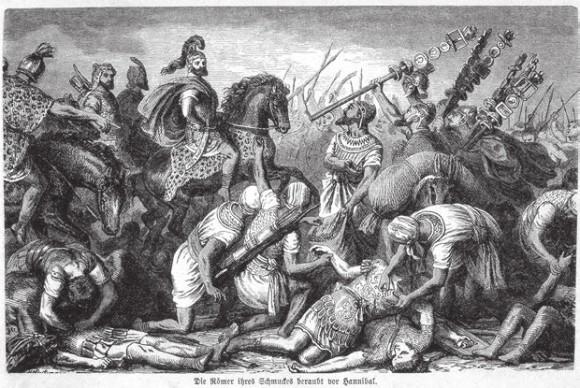 Ганнибал в битве при Каннах (216 год до н. э.). Гравюра из книги Вильгельма фон Вагнера «Рим» (1877). Автор — Heinrich Leutemann (1824–1905)