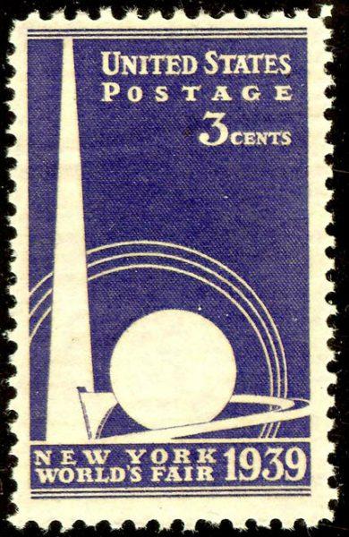 Почтовая марка с изображением символов Всемирной выставки 1939 года