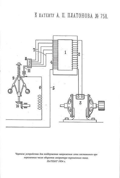 Чертеж устройства для поддержания напряжения сети постоянным при переменном числе оборотов генератора переменного тока. Патент 1924 года