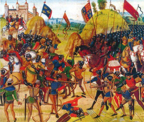 Битва при Креси (1346). Иллюстрация из «Хроник» Жана Фруассара («Википедия»)