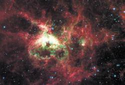 Фотография того же комплекса, сделанная космическим телескопом «Спитцер» в инфракрасном диапазоне. Здесь приглушен свет звездного скопления и выделено излучение пыли. Четко видны три огромных пузыря, оставшихся от трех вспышек звездообразования. Пузыри выдуваются звездным ветром и вспышками сверхновых. На пересечении стенок этих трех пузырей и возникло молодое скопление R136. Туманность NGC602 в Малом Магеллановом Облаке. Звезды, родившиеся в огромном газово-пылевом облаке, испарили его сердцевину. Слева - еще одно скопление, видимо, постарше, так что вся пыль вокруг уже испарена. Слева внизу сквозь туманность просвечивает аккуратная спиральная  галактика.