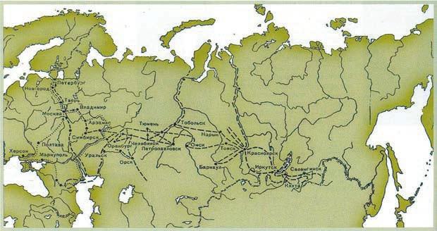 Маршрут путешествия П. С. Палласа по России в 1768–1774 годах. Из книги: Околов В. Е. и Парнес Я. А. (1993)