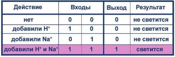 Таблица 2. Функционирование молекулярных логических вентилей