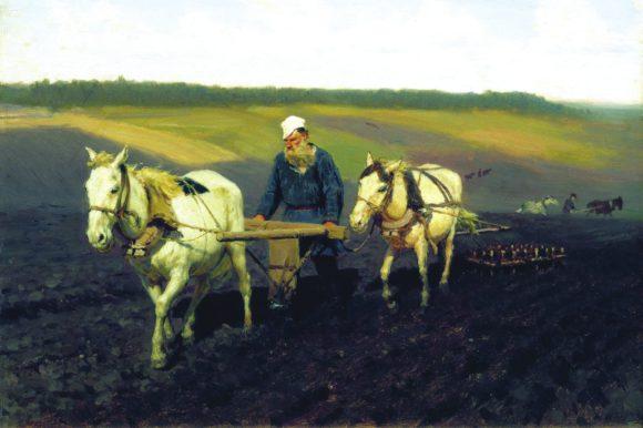 И. Е. Репин. Пахарь. Лев Толстой на пашне. 1887