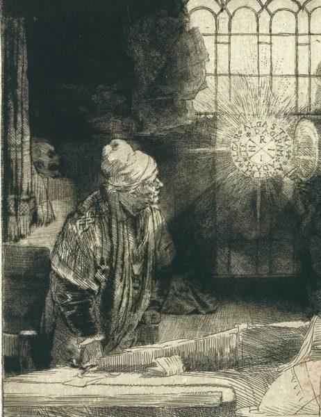 Рембрандт. Фауст (I состояние). Офорт. Ок. 1652
