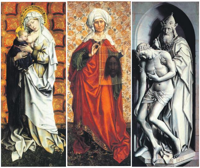 Рис. 3. Флемальский алтарь: «Мадонна с младенцем», «Св. Вероника», «Троица (1410)