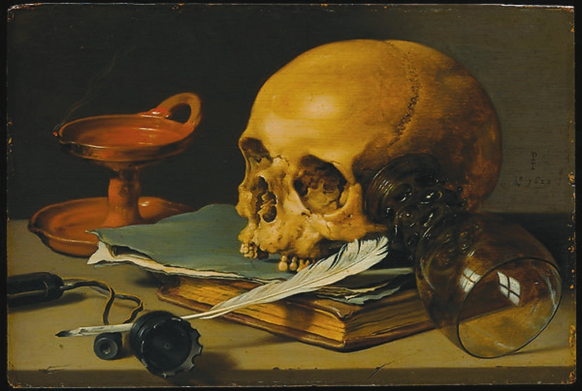 Петер Класс (Pieter Claesz). 1628. Натюрморт с черепом и писчим пером