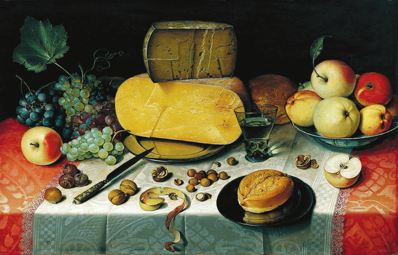 Флорис Клас ван Дейк. Завтрак с фруктами, орехами и сыром. 1613