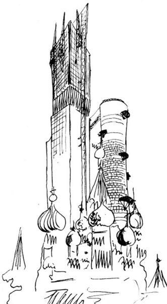 Рис. 2. Новая архитектура в «городе прошлецов». И. Леонидов, конкурсный проект здания Наркомтяжпрома на Красной площади (1934)
