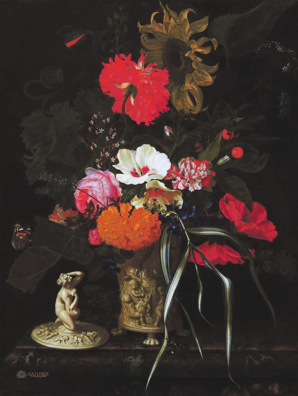 Рис. 1. Мария ван Остервейк. Цветы в декоративной вазе