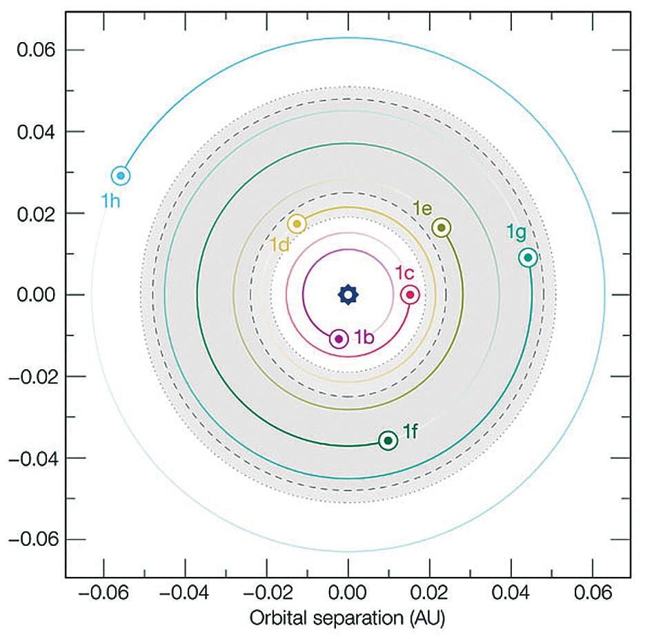Рис. 4. Схема орбит системы TRAPPIST-1. Серым отмечена зона обитаемости. Пунктирными кругами — она же в несколько отличающейся трактовке