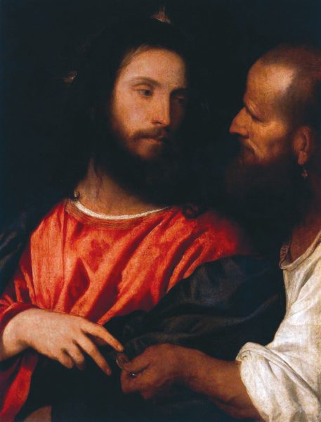 Тициан (1488–1576). Динарий кесаря (1516). «Покажите Мне динарий: чье на нем изображение и надпись? Они отвечали: кесаревы» (Лука 20:24). («Википедия»)