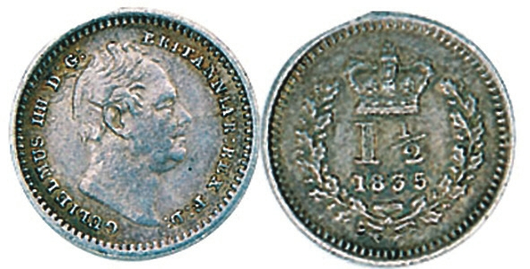 Полтора пенса Вильяма IV (1835). (www.cointrust.co.uk)