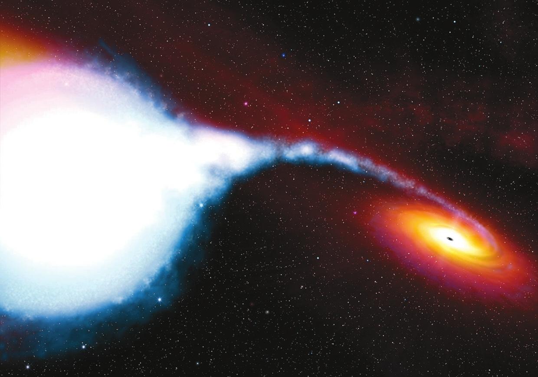Рисунок художника, изображающий источник Лебедь Х-1. Иллюстрация применима (точнее неприменима, поскольку невозможно правильно соблюсти масштаб и цвета) и к другим двойным системам с аккрецией на компактный объект. (Рисунок с сайта spacetelescope.org)