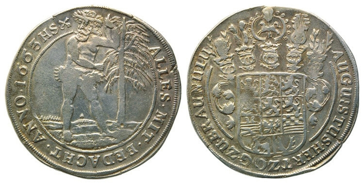 5. Талер (24 грошена), Август Младший, герцог Брауншвейг-Вольфенбюттельский, 1663 год (на 300 евро на реверсе слева — дата «1666» и другое расположение надписи на реверсе; такого варианта реверса найти не удалось) (en.numista.com)