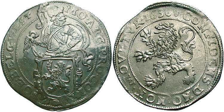 6. Даальдер (48 стюйверов), Нидерланды — Западная Фризия, 1636 год (на 300 евро на реверсе вверху — дата «1576» и другая провинция — Голландия) (beastcoins.com)